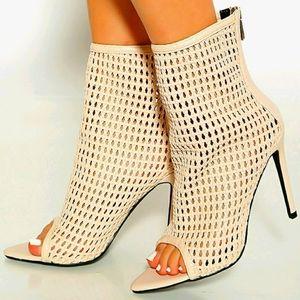 Vegan Weave Leather Stiletto Sandal Booties